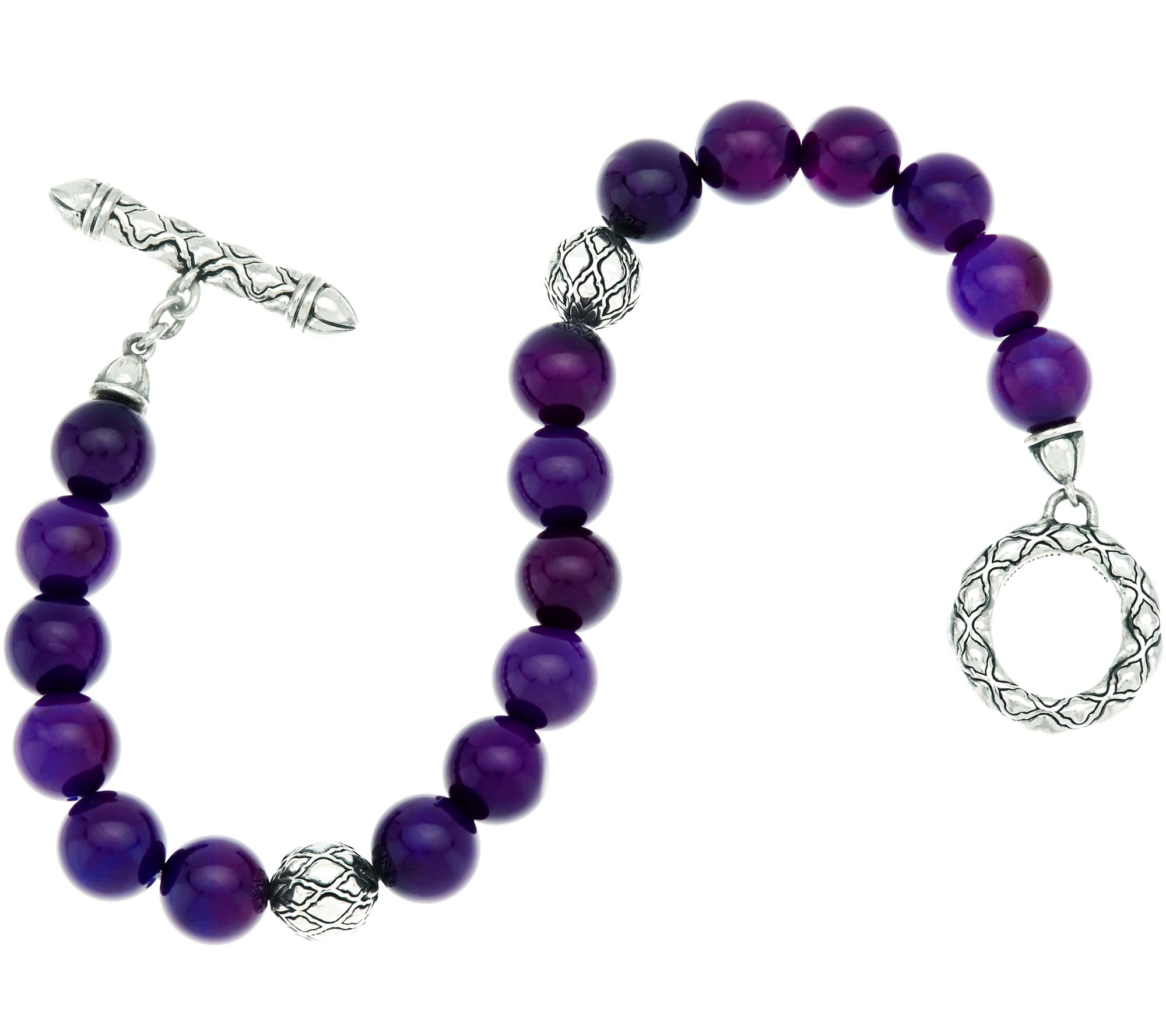 JAI Sterling & Gemstone Bead Toggle Closure Bracelet