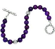 JAI Sterling Silver Taj Texture & Gemstone Bead Toggle Bracelet - J329269