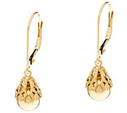 EternaGold Polished Bead w/ Filigree Cap Dangle Earrings 14K Gold - J330569