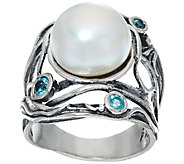 Sterling Silver Cultured Pearl & Gemstone Ring by Or Paz - J331669