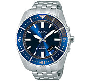Pulsar Mens Stainless Steel Blue Dial BraceletWatch - J337569