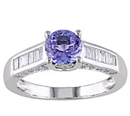 1cttw Tanzanite & Diamond Accent Ring, 14K White Gold - J338169