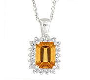 Premier Emerald Cut 1.25cttw Citrine & DiamondPendant, 14K - J338269
