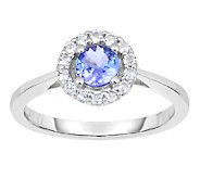 3/4 cttw Tanzanite & White Topaz Halo Ring, Sterling - J338669
