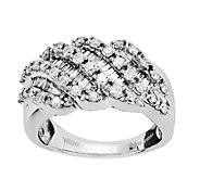 Sterling 1.00cttw Round & Baguette Diamond Ring - J338869
