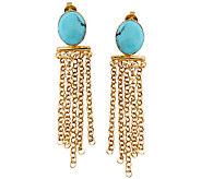 Sterling & 14K Gold-Plated Turquoise Fringe Earrings - J339269
