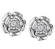 Diamond Flower Earrings, 1/10cttw, Sterling, by Affinity - J339469