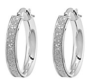 14K White Gold and Glitter-Infused Round  Earrings - J343669
