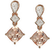 1.20 cttw Morganite & 1/10 cttw Diamond Earrings, Sterling - J343869