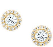 Round Halo Earrings, 14K Yellow Gold, 1 cttw, by Affinity - J345269