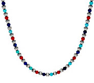 Sterling Silver Multi Color 21 Bead Necklace by American West - J349269
