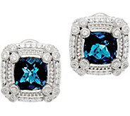 Judith Ripka Sterling Silver 3.60 cttw London Blue Topaz Earrings - J349569
