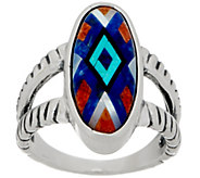 American West Sterling Silver Multi-Gemstone Inlay Ring - J350869
