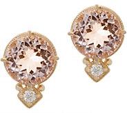 Judith Ripka 14K 3.20 cttw Morganite & Diamond_Accent Stud Earrings - J352569