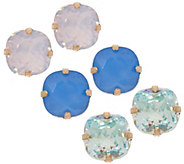 Joan Rivers Set of 3 Clip or Pierced Vintage Style Stud Earrings - J352869