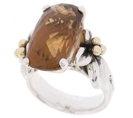 Ann King Sterling/18K Couture 7.0cttw Cinnamon Quartz Ring