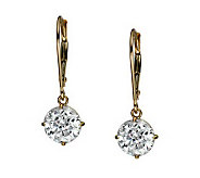 Diamonique 100 Facet 3 ct tw Lever Back Earrings, 14K Gold - J111270
