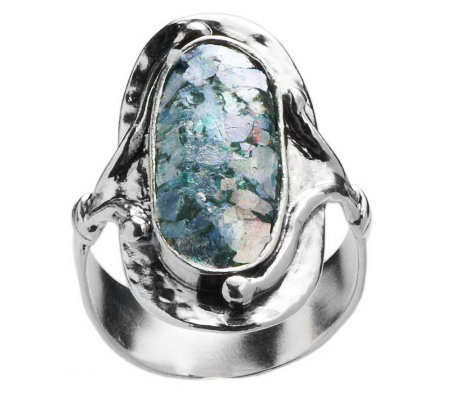 Or Paz Sterling Roman Glass Elongated Hammered Ring