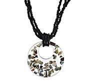 Lee Sands Glass Bead & Circle Pendant w/Abalone Necklace - J274070