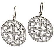Vicenza Silver Sterling Pave Glitter Scroll Design Round Dangle Earrings - J275670
