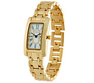 Liz Claiborne New York Polished Metal Bracelet Watch w/ Crystals - J278270
