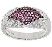 Judith Ripka Sterling and .55cttw Pink Sapphire Pave Band Ring - J287870