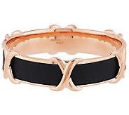 Bronze Polished X Design Leather Inlay Round Bangle by Bronzo Italia - J288270