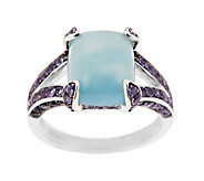 MiklyAquamarine Cushion Cut and 0.75 ct tw Iolite Sterling Ring - J291070