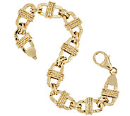 Vicenza Gold 6-3/4 Textured Oval Wrapped Status Bracelet 14K Gold, 6.5g - J292370
