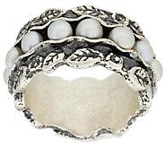 Or Paz Sterling Cultured Pearl Leaf Design Band Ring - J296570