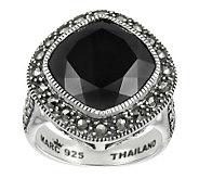 Suspicion Marcasite Cushion Cut Black Onyx RingSterling - J310770