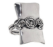 Or Paz Sterling Elongated Rectangular Rose Ring - J311570