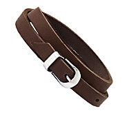 Stainless Steel Brown Leather Buckle Bracelet - J313270