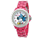Disney Womens Pink Enamel Minnie Watch - J315570