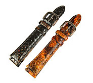 Judith Ripka S/2 Brown & Rust Snakeskin LeatherWatch Straps - J315670