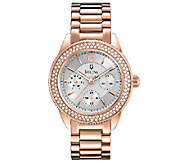 Bulova Ladies Rosetone Crystal Accented Bracelet Watch - J316370