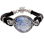 Sterling Silver Roman Glass Leather Station Bracelet by Or Paz - J319370
