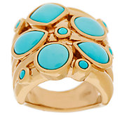 Sleeping Beauty Turquoise Elongated Design Ring, 14K Gold - J319870