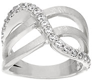 VicenzaSilver Sterling Crystal Design Satin Finish Ring - J321470