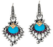 Barbara Bixby Sterling & 18K Turquoise Peacock Feather Earrings - J322370