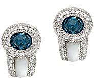 Judith Ripka Sterling 2.70ct tw London Blue Topaz & MOP Earrings - J322470