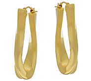 Oro Nuovo 1-1/2 Oval Elongated Twist Hoop Earrings, 14K - J323970