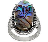 Graziela Gems Abalone Doublet & White Zircon Sterling Silver Ring, 0.45 cttw - J324570