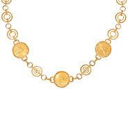 14K/22K Gold Liberty Coin 18 Diamond Cut Station Necklace, 33.5g - J324970