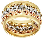 As Is 14K Gold Bold Triple Wrapped Rope Band Ring - J325370