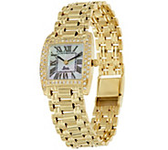 As Is Vicence Square Case 4/10 cttw Diamond Panther Link Watch, 14K - J327270