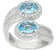 Judith Ripka Sterling Blue Topaz 2.70 cttw Bypass Ring - J327370