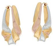 As Is Oro Nuovo 1-3/8 Graduated Twist Oval Hoop Earrings, 14K - J327970