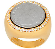 As Is Veronese 18K Clad 100 Lire Coin Crystal Ring - J328370