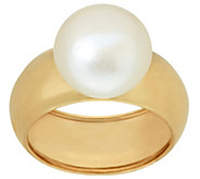 As Is Honora 14K Gold Cultured Pearl 11.0mm Button Ring - J328570